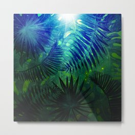 Blue Aloha - Morning Light abstract Tropical Palm Leaves and Monstera Leaf Garden Metal Print