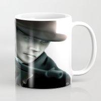 johnny depp Mugs featuring Johnny Depp// John Dillinger by Greg Gonzalez