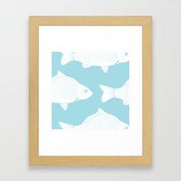 Carps in Light Blue Framed Art Print