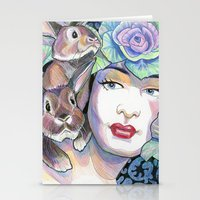 bunnies Stationery Cards featuring Bunnies by Thea Maia