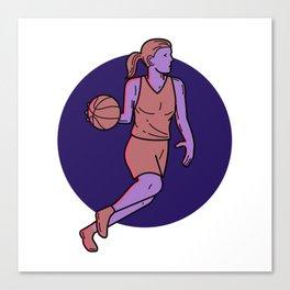 Woman Basketball Player Dribbling Mono Line Art Canvas Print