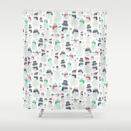 Watercolour snowmen! Shower Curtain