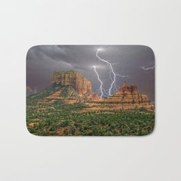 Double Lightning between Courthouse Butte and Bell Rock in Sedona AZ Bath Mat