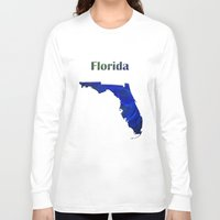 florida Long Sleeve T-shirts featuring Florida Map by Roger Wedegis