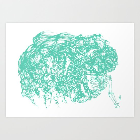teal hair thick Art Print