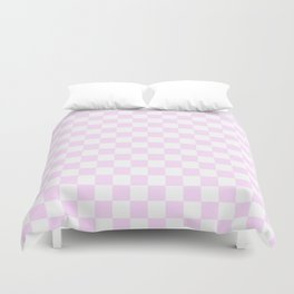 Small Checkered - White and Pastel Violet Duvet Cover