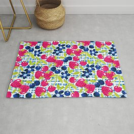 Paper Picnic Berry Collage with Green Leaves  Rug