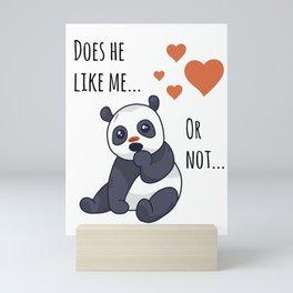 Cute panda thinking Mini Art Print