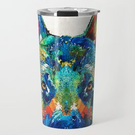 Colorful German Shepherd Dog Art By Sharon Cummings Travel Mug