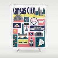 kansas city Shower Curtains featuring Kansas City by cwassmer