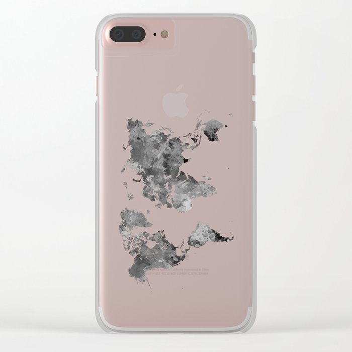World map in watercolor gray Clear iPhone Case