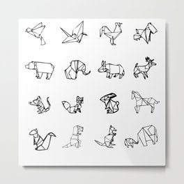 Origami Animal Set Metal Print