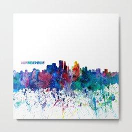 Minneapolis Skyline Silhouette An Impressionistic Blast - Dream Cities Series Metal Print