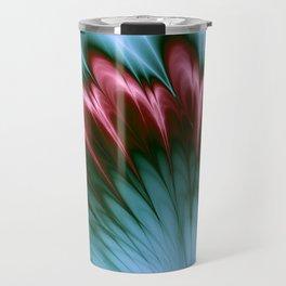 Pink and Aqua Feather Flurry Travel Mug