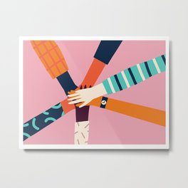 Holding hands circle Metal Print