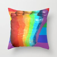 duvet cover Throw Pillows featuring RAINBOW COLORS DUVET COVER by aztosaha