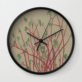 Red twigs Wall Clock