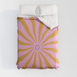 Cute Retro Sun Face  Comforters