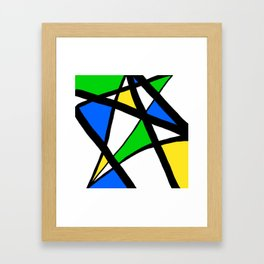 China Blue, Apple Green and Sunshine Yellow Abstract Framed Art Print