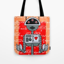 Nerdy Robot Print with math formulas in background Tote Bag