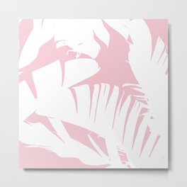 White on Pink Tropical Banana Leaves Pattern Metal Print