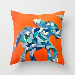 Elephant collage of paint samples Throw Pillow