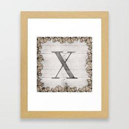 Neutral Monogram X Framed Art Print