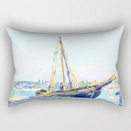 Boat on a beach Rectangular Pillow