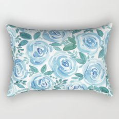 Pale blue roses . Watercolor . Rectangular Pillow