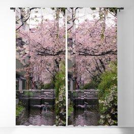 Sakura under the rain Blackout Curtain