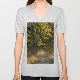 Alley of lime trees in Autumn #2 Unisex V-Neck