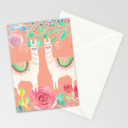 Llama in a floral frame Stationery Cards
