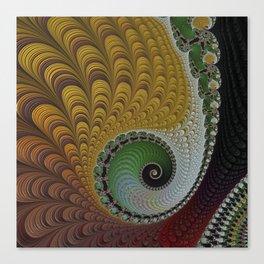FRACTAL spiral, GOLD and Green, 3D Canvas Print