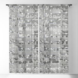 Knowing Wink (P/D3 Glitch Collage Studies) Sheer Curtain