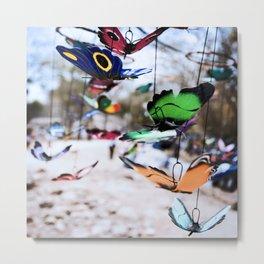 Colorful foam butterflies dangling in the air Metal Print