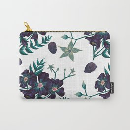 Illustration digital art purple flower pattern with skull Carry-All Pouch
