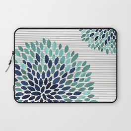 Blooms and Stripes, Aqua and Navy Laptop Sleeve