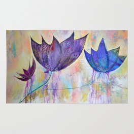 Just do you, trio of abstract lotus flowers Rug