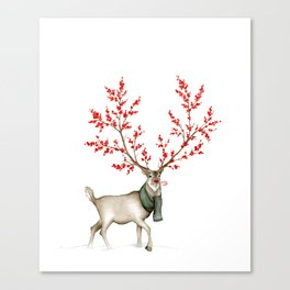 Rudolph the Winterberry Antler'd Reindeer Canvas Print