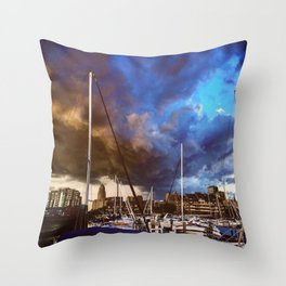 Storm Over the Erie Basin Marina Throw Pillow