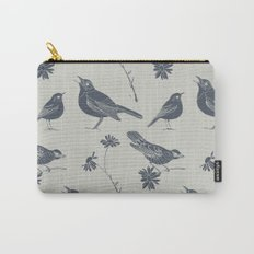 Birds and Daisies, drawing in blue and grey Carry-All Pouch
