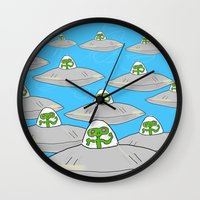 aliens Wall Clocks featuring Aliens by David Abse