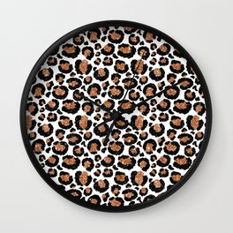 Leopard Metal Glamour Skin on white Wall Clock