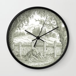 ONCE UPON A EUCALYPTUS VINTAGE PEN DRAWING Wall Clock