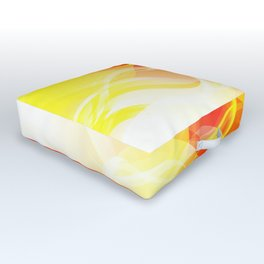 Theme of fire for the banner. Bright red and orange glare on a gentle background for a fabric or pos Outdoor Floor Cushion