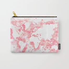 Watercolor splatters world map in pink Carry-All Pouch