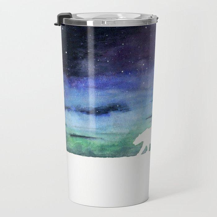 Aurora borealis and polar bears (white version) Travel Mug