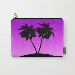 Palm Tree Silhouette Against Twilight Purple with Stars Carry-All Pouch
