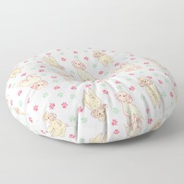 Poodle and Paw Print Floor Pillow