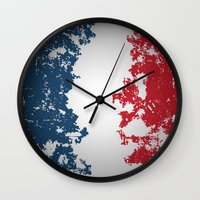 france Wall Clocks featuring France by Flat Design